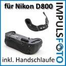 Minadax Profi Batteriegriff kompatibel für Nikon D800, D800E, D810, D800A - ERsatz für MB-D12 für 1 zusätzlichen Akku und 8x AA Batterien + 1x Neopren Handgelenkschlaufe