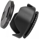 Sonnenblende Universal 58mm z.B kompatibel mit Canon EF 70-300mm 1:4-5.6 IS USM, Canon EF 100mm 1:2.8 Macro USM + Pro Lens Cap 58m