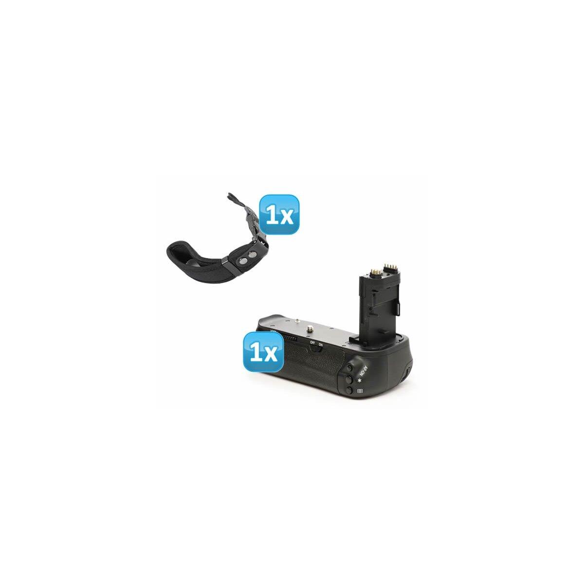 Minadax Profi Batteriegriff fuer Canon EOS 6D - aehnlich wie BG-E13 - fuer 2x LP-E6 und 6x AA Batterien + 1x Neopren Handgelenkschlaufe