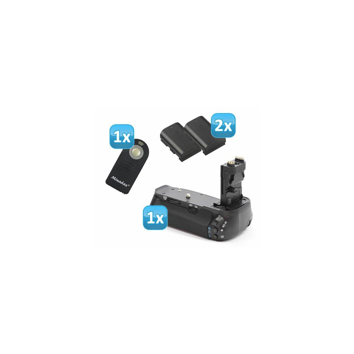 Minadax Profi Batteriegriff kompatibel mit Canon EOS 60D Ersatz für BG-E9 - für 2x LP-E6 und 6x AA Batterien + 2x LP-E6 Nachbau-Akkus + 1x Infrarot Fernbedienung!