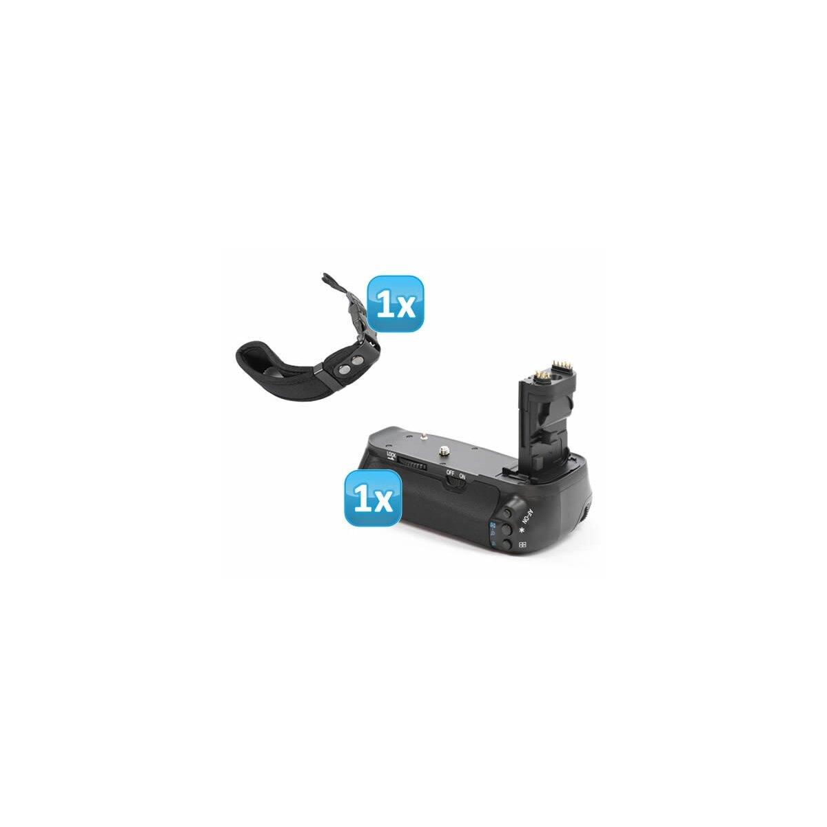 Minadax Profi Batteriegriff kompatibel mit Canon EOS 60D Ersatz für BG-E9 - für 2x LP-E6 und 6x AA Batterien + 1x Neopren Handgelenkschlaufe