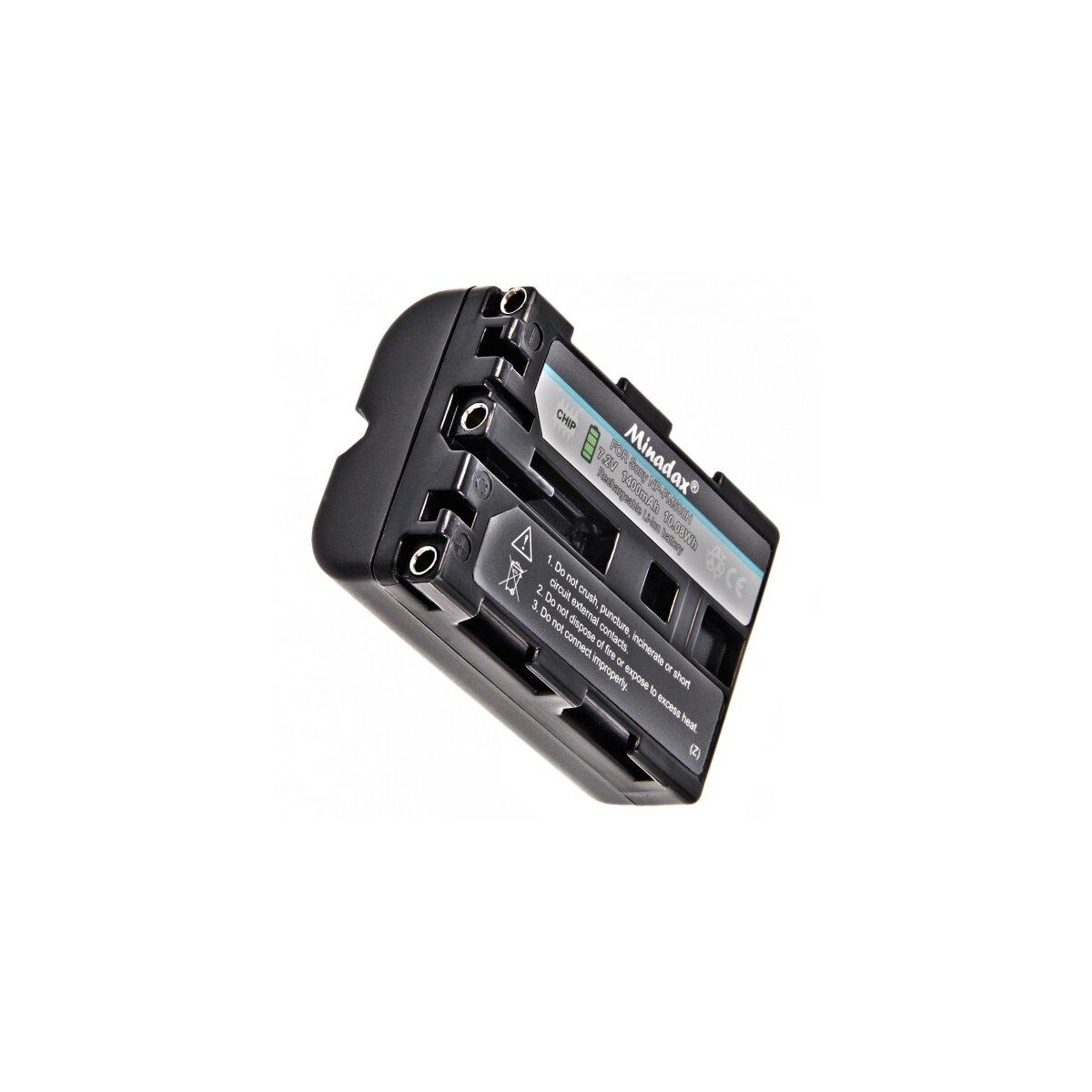 Minadax Li-Ion Akku kompatibel mit Sony Alpha A900, A850, A700, A560, A550, A500, A350, A300, A200, A100, A99, A77, A65, A58, A57 - Ersatz für NP-FM500H Akku