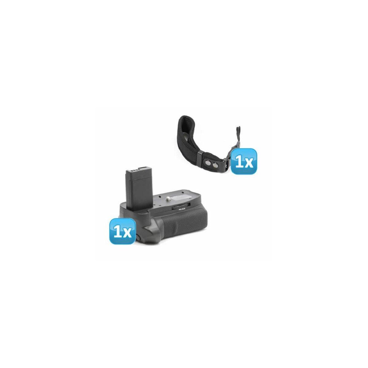 Minadax Profi Batteriegriff kompatibel mit Canon EOS 1200D, 1100D - für 2x LP-E10 + 1x Neopren Handgelenkschlaufe