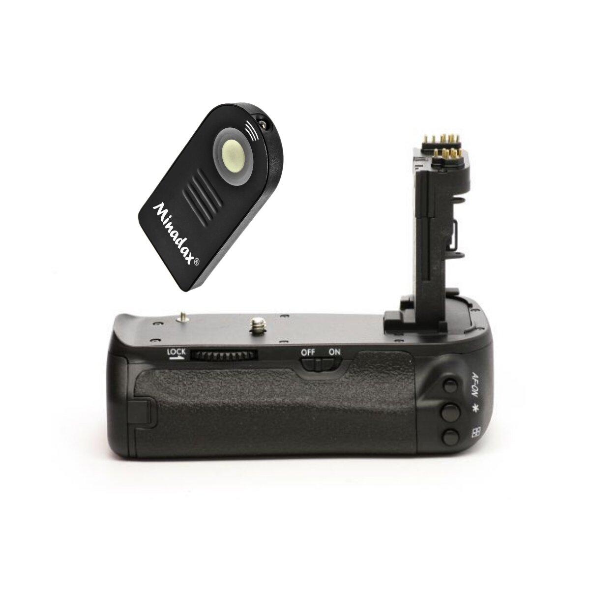 Profi Batteriegriff kompatibel mit Canon EOS 6D Ersatz für BG-E13 - für 2x LP-E6 und 6x AA Batterien + 1x Infrarot Fernbedienung!