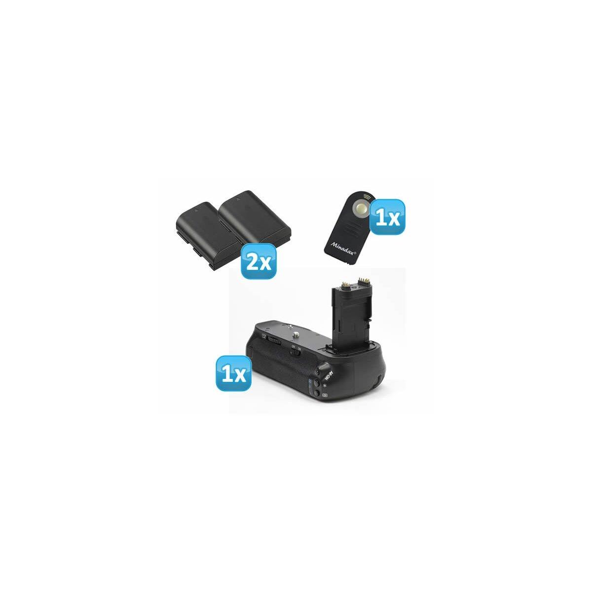 Profi Batteriegriff kompatibel mit Canon EOS 6D Ersatz für BG-E13 - für 2x LP-E6 und 6x AA Batterien + 2 LP-E6 Nachbau-Akkus + 1x Infrarot Fernbedienung!