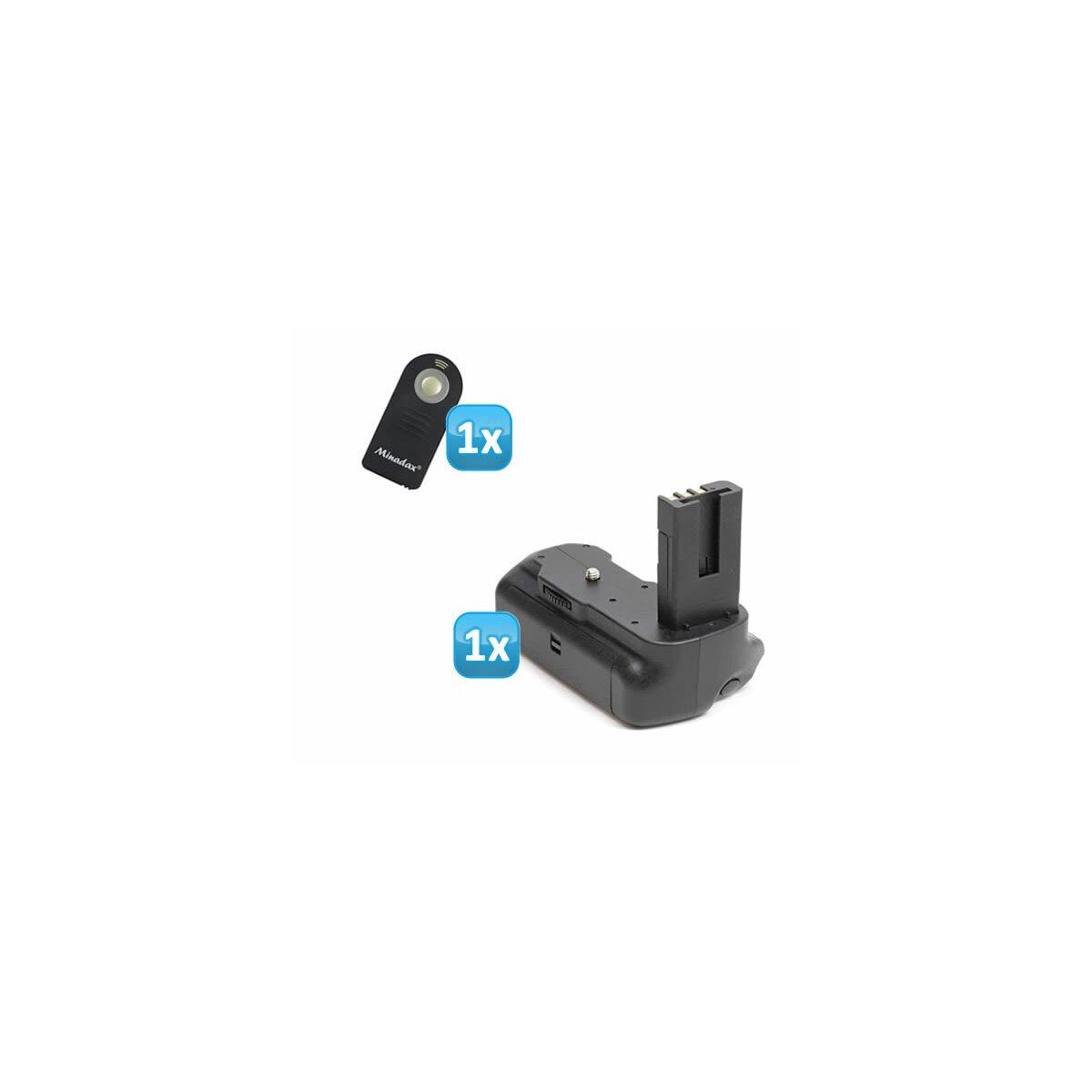 Minadax Profi Batteriegriff fuer Nikon D5000 - hochwertiger Handgriff mit Hochformatausloeser - doppelte Kapazität durch 2 Akkus + 1x Infrarot Fernbedienung!