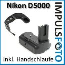 Minadax Profi Batteriegriff fuer Nikon D5000 - hochwertiger Handgriff mit Hochformatausloeser - doppelte Kapazität durch 2 Akkus + 1x Neopren Handgelenkschlaufe