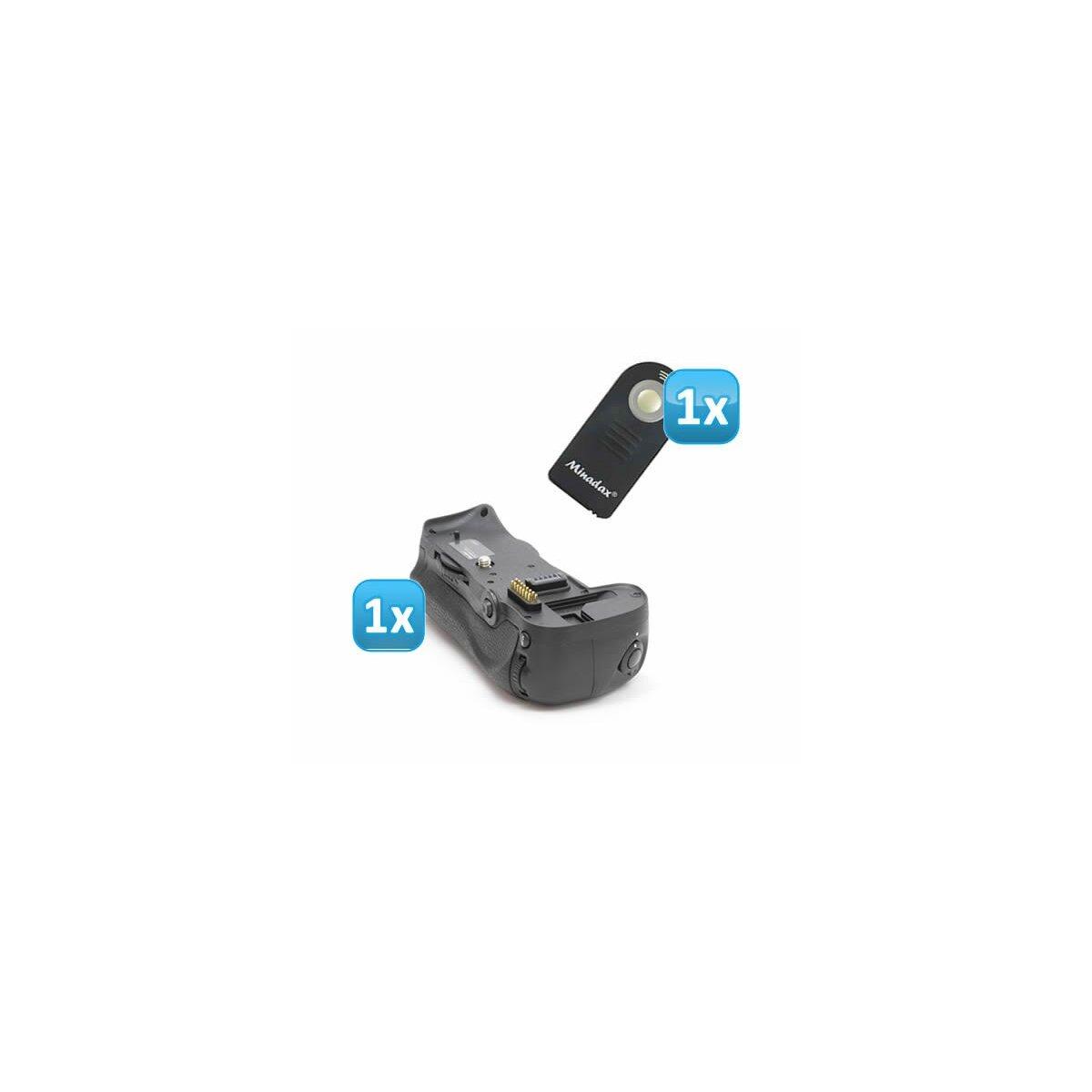 Minadax Profi Batteriegriff fuer Nikon D700, D300s, D300 - ersetzt MB-D10 fuer 1 zusaetzlichen EN-EL3e Akku oder 8 AA Batterien + 1x Infrarot Fernbedienung!