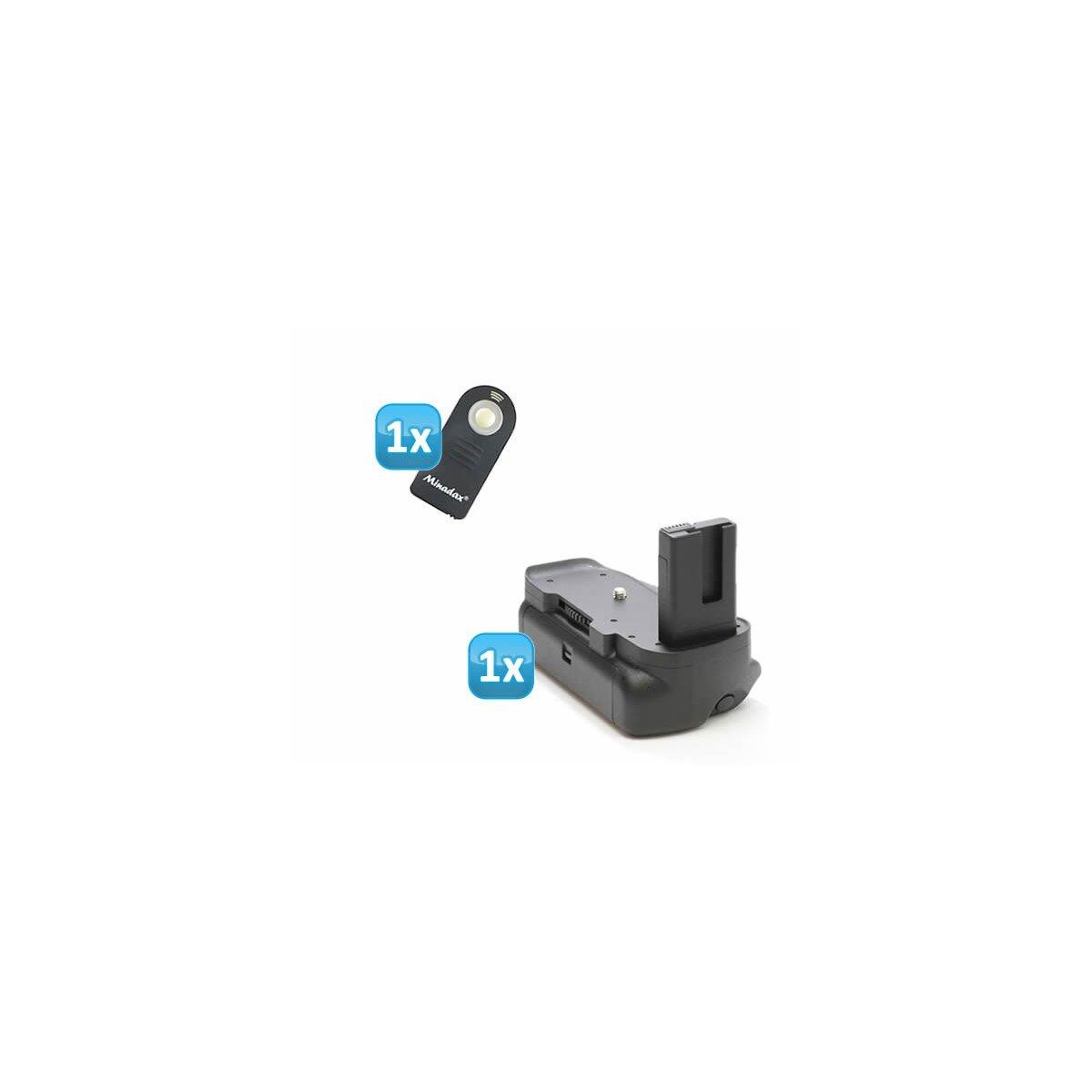 Minadax Profi Batteriegriff kompatibel mit Nikon D5300, D5200, D5100 inklusiv 1x Infrarot Fernbedienung - hochwertiger Handgriff mit Hochformatauslöser - für 2x EN-EL14 Akkus