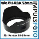 Minadax Sonnenblende / Gegenlichtblende 52mm fuer Pentax Objektiv smc DA L 18-55mm f/3.5-5.6 AL - aehnlich Pentax PH-RBA 52mm