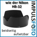 Sonnenblende kompatibel mit Nikon Objektiv AF-S 18-70mm f/3.5-4.5G & AF-S 18-135mm f/3.5-5.6G - Ersatz für HB-32