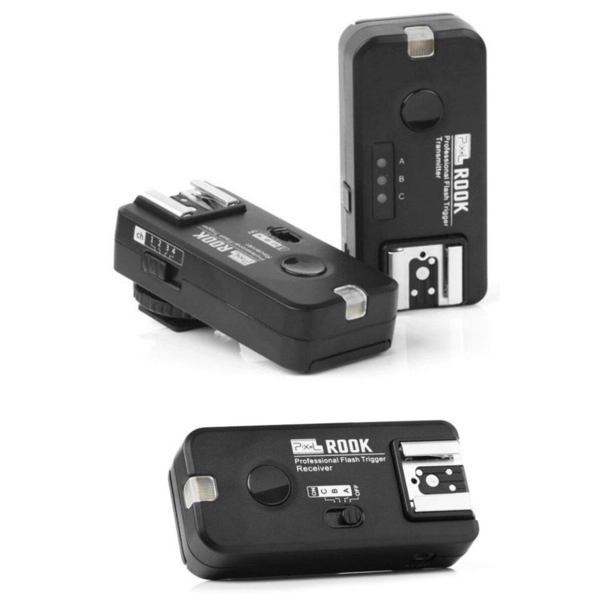Pixel Rook Funk Blitzauslöser Set mit 2 Empfängern bis 200m kompatibel mit Nikon DSLR & Nikon TTL Blitzgeräte – Gruppierung & Wake-Up Funktion