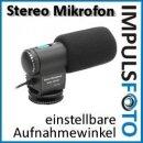 Stereo Richtmikrofon mit Windschutz kompatibel mit Canon EOS 700D, 650D, 600D, 550D, 100D, 70D, 60D, 7D, 6D, 5D Mark III, 5D Mark II, 1D X, 1D, M - 2 einstellbare Aufnahmewinkel