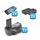 Minadax Profi Batteriegriff Hochformatgriff kompatibel für Sony Alpha A77, A77 II (Alpha SLT-A77V) Ersatz für Sony VG-C77 + 2X NP-FM500H Nachbau-Akkus + 1x Infrarot Fernbedienung!