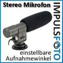 JJC Stereo Richtmikrofon mit Windschutz kompatibel mit Canon EOS 700D, 650D, 600D, 550D, 100D, 70D, 60D, 7D, 7D, 6D, 5D Mark III, 5D Mark II, 1D X, 1D und M Aufnahmewinkel kann zu 2 Positionen