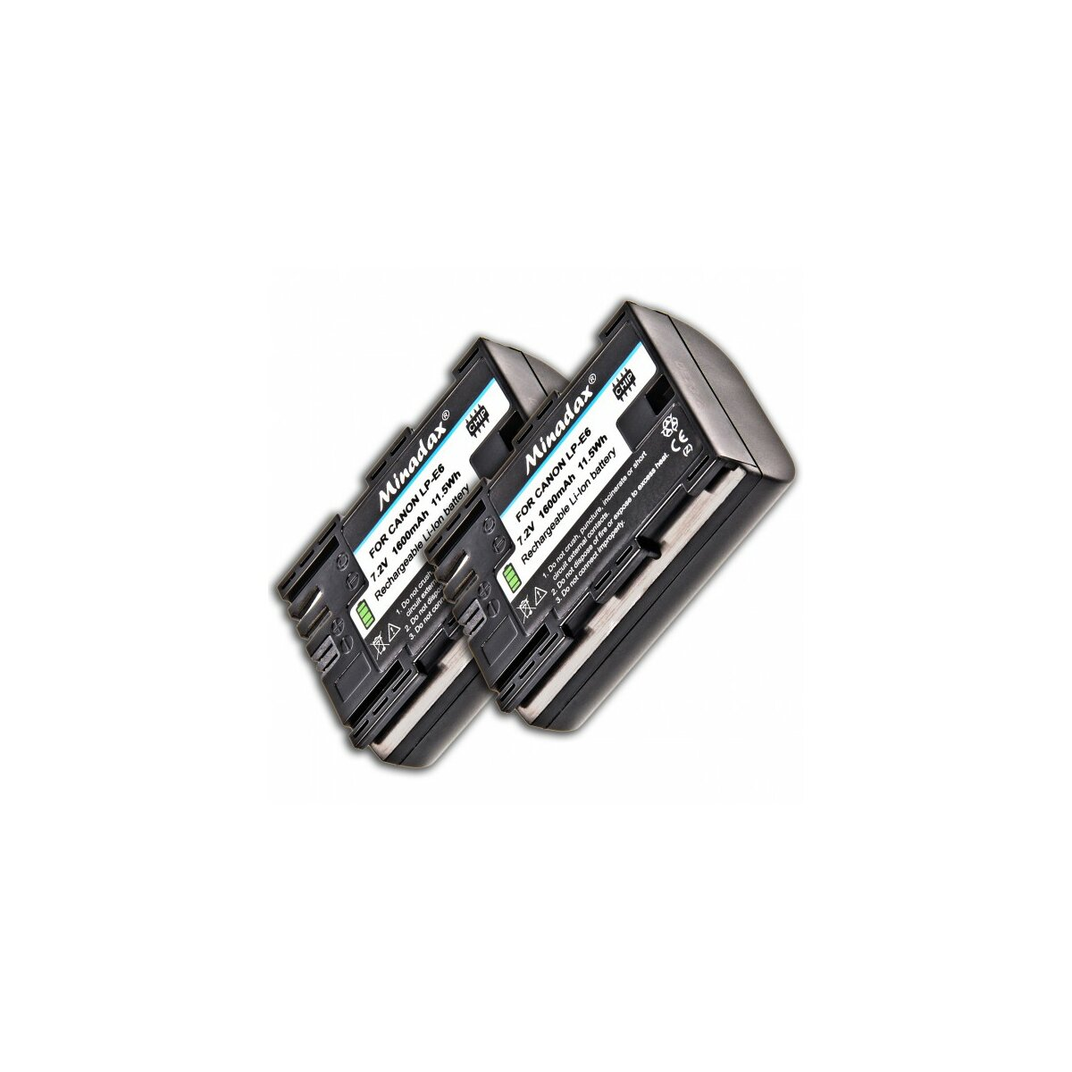 2x Minadax Li-Ion Akku kompatibel mit Canon EOS 80D, 70D, 60D, 7D, 7D Mark II, 6D, 5D Mark IV, 5D Mark III, 5D Mark II - Ersatz für LP-E6 Akku