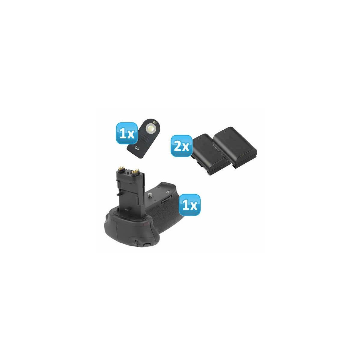 Minadax Batteriegriff fuer Canon EOS 6D mit INFRAROT Schnittstelle - aehnlich wie BG-E13 für 2x LP-E6 oder 6 AA Batterien + 2 LP-E6 Nachbau-Akkus