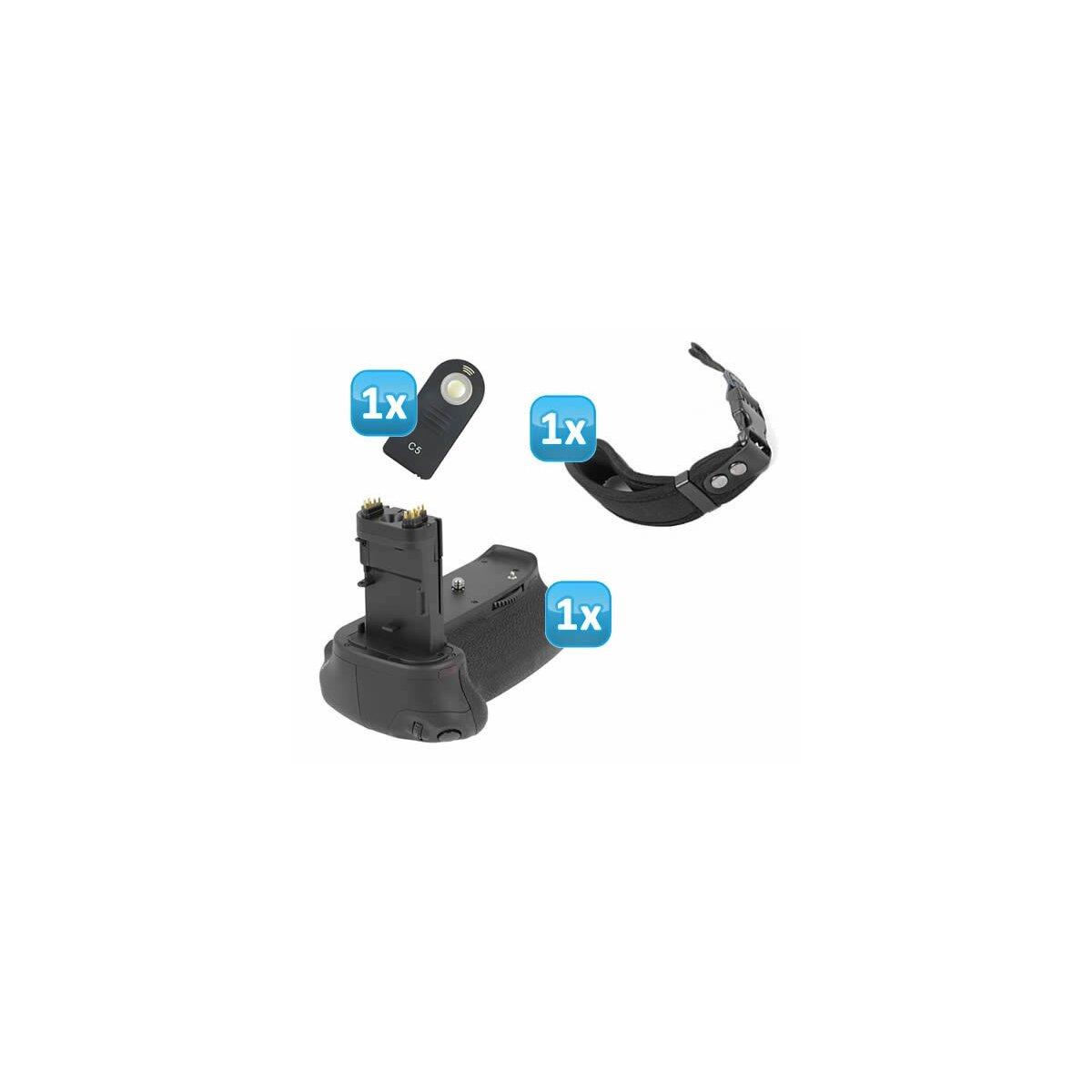 Minadax Batteriegriff fuer Canon EOS 6D mit INFRAROT Schnittstelle - aehnlich wie BG-E13 für 2x LP-E6 oder 6 AA Batterien + 1x Neopren Handgelenkschlaufe