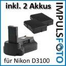 Meike Profi Batteriegriff kompatibel für Nikon D3200 und D3100 - Akkugriff mit Hochformatauslöser + 2x EN-EL14 Nachbau-Akkus