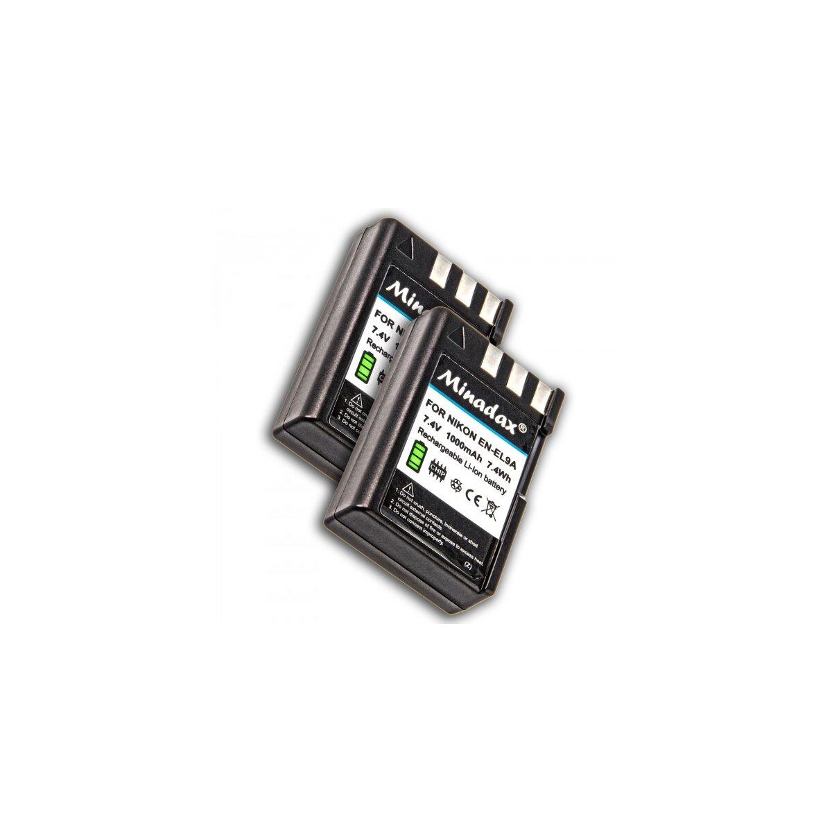 2x Minadax Li-Ion Akkus fuer Nikon D5000, D3000, D60, D40x, D40 - wie der EN-EL9, EN-EL9a