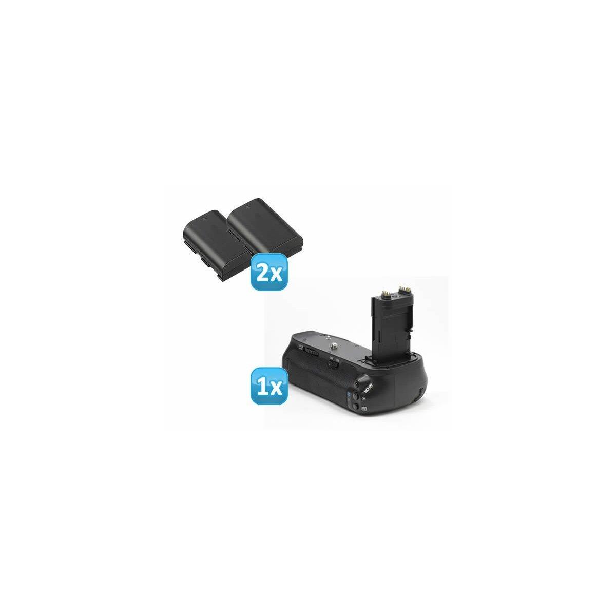 Profi Batteriegriff kompatibel mit Canon EOS 6D Ersatz für BG-E13 - für 2x LP-E6 und 6x AA Batterien + 2x LP-E6 Nachbau-Akkus
