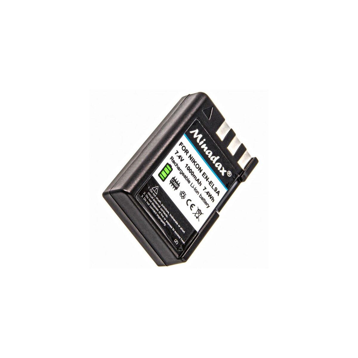 Minadax Li-Ion Akku kompatibel mit Nikon D5000, D3000, D40, D40x, D60 - Ersatz für EN-EL9, EN-EL9a