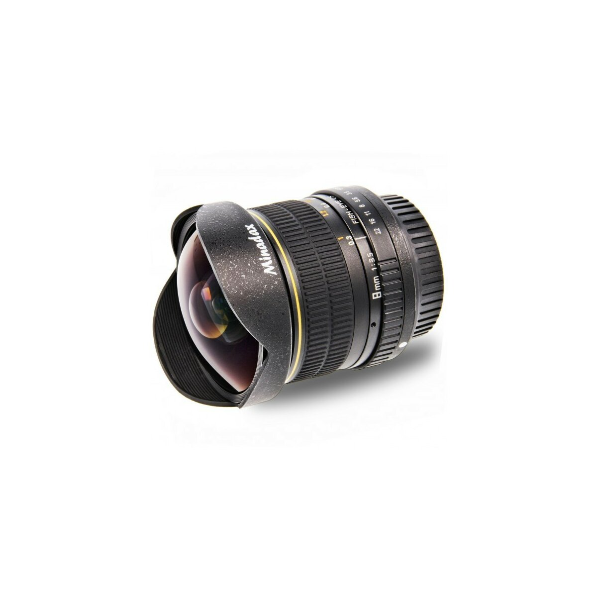 Minadax 8mm 1:3,5 Fisheyeobjektiv kompatibel mit Canon 1100D, 1000D, 650D, 600D, 550D, 500D, 450D, 400D, 350D, 300D, 60D, 50D, 40D, 30D, 20D, 10D + Neopren Objektivbeutel