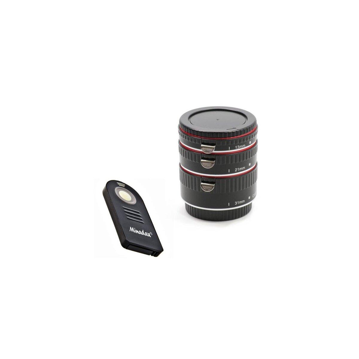 Minadax Automatik Zwischenringe 3-teilig 31mm, 21mm, 13mm Makrofotographie + Infrarot Fernausloeser & passende Neopren Tasche fuer Canon EF/EF-S EOS 700D, 650D, 600D, 550D, 500D, 450D, 400D, 350D, 300D, 100D, 70D, 60D, 50D, 7D, 6D, 5D Serie