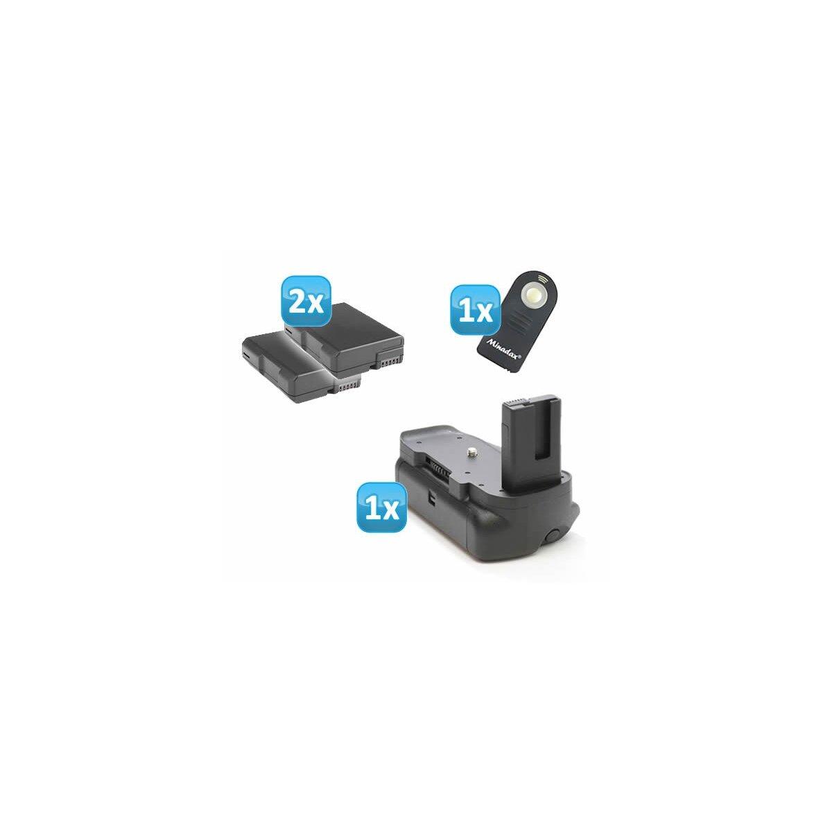 Minadax Profi Batteriegriff fuer Nikon D5300 - hochwertiger Handgriff mit Hochformatausloeser + 2x EN-EL14 Nachbau-Akkus + 1x Infrarot Fernbedienung!