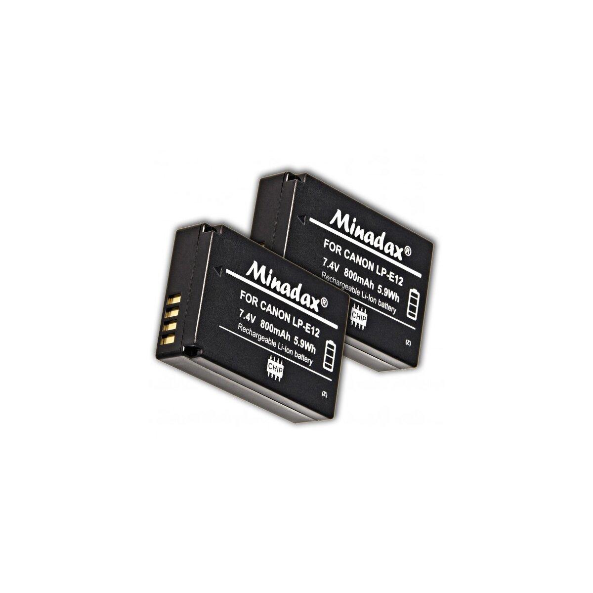 2x Minadax Li-Ion Akkus kompatibel für Canon EOS 100D, EOS M - Ersatz für LP-E12 Akku