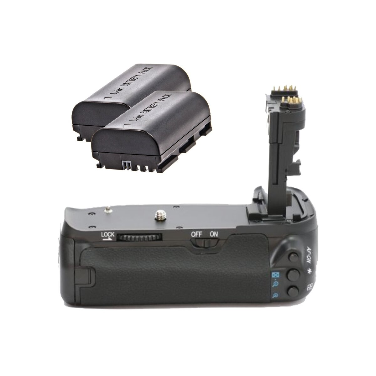 Profi Batteriegriff + 2x Akkus kompatibel mit Canon EOS 60D Ersatz für BG-E9, inkl. 2x Li-Ion Akku Ersatz für LP-E6