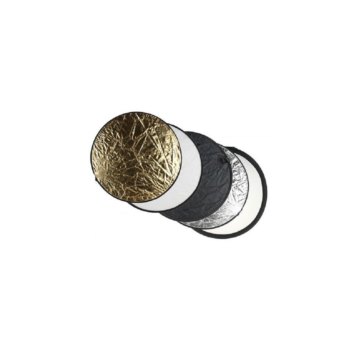 5in1 Faltreflektoren Set - ca. 105cm - gold, silber, schwarz, weiß und Diffusor