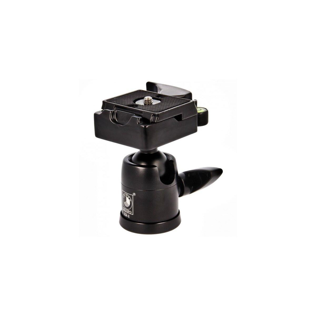 TRIOPO KJ-1 Stativkopf (Belastbarkeit: 6kg, Hoehe: 87mm, Gewicht: 0,3 kg ) mit Wechselplatte & Wasserwaage inkl. Adaptergewinde 1/4 zu 3/8