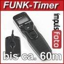 Funk-Timer Fernauslöser kompatibel mit Canon 50D, 40D, 30D, 20D, 10D, 7D Mark II, 7D, 6D, 5D Mark III, 5D Mark II, 5D, 1D Serie, EOS 3, D2000, D60, D30