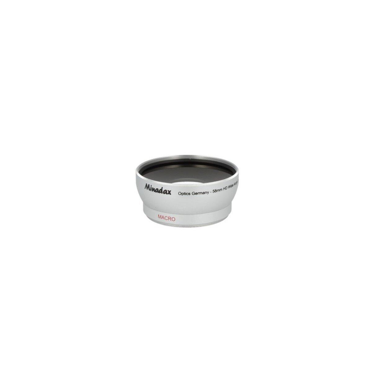 0.5x Minadax Weitwinkel Vorsatz mit Makrolinse kompatibel mit Panasonic Lumix DMC-FZ50, DMC-FZ30, Leica V-LUX 1 - in silber