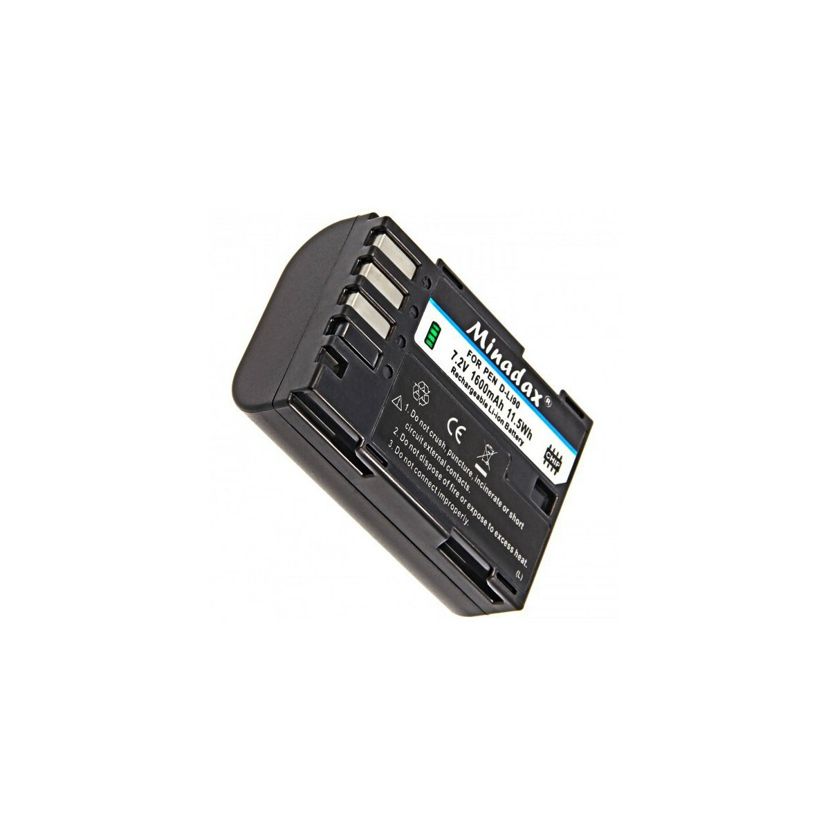 "Minadax PRO Li-Ion Akku ""Hohe Kapazität"" 1600 mAh kompatibel mit Pentax K-3, K-5 und K-7 - Ersatz für D-Li90"