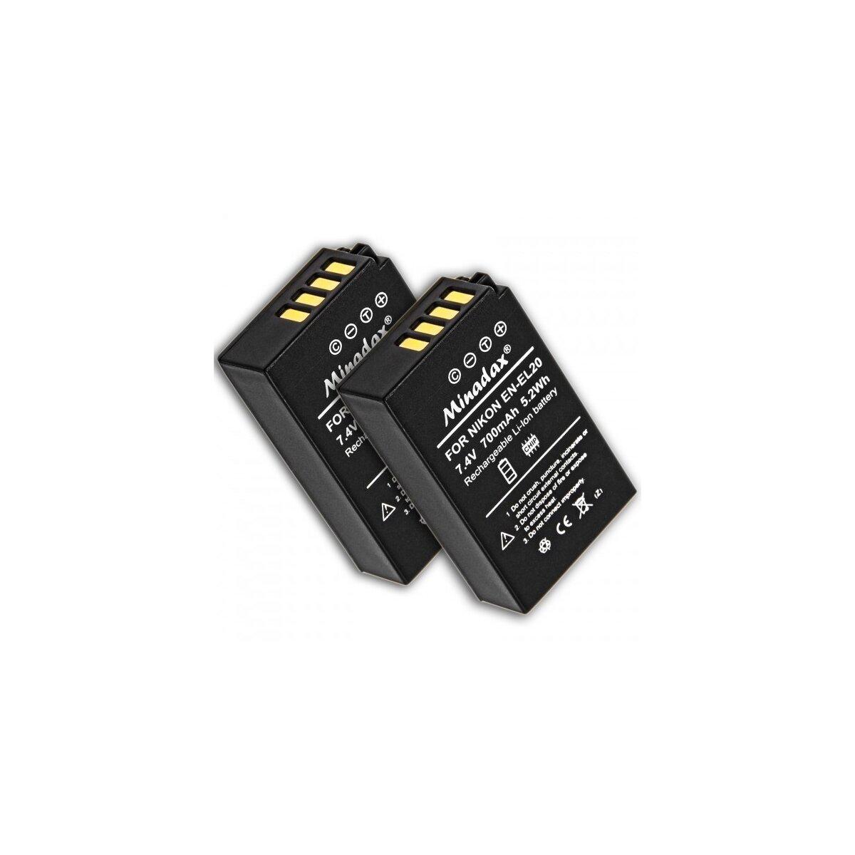 Minadax 2x Qualitätsakku kompatibel mit Nikon Ersatz für EN-EL20 - Li-Ion Akku kompatibel mit Nikon 1 AW1 J1 J2 J3 S1 COOLPIX A, Blackmagic Pocket Cinema - 100% kompatibel