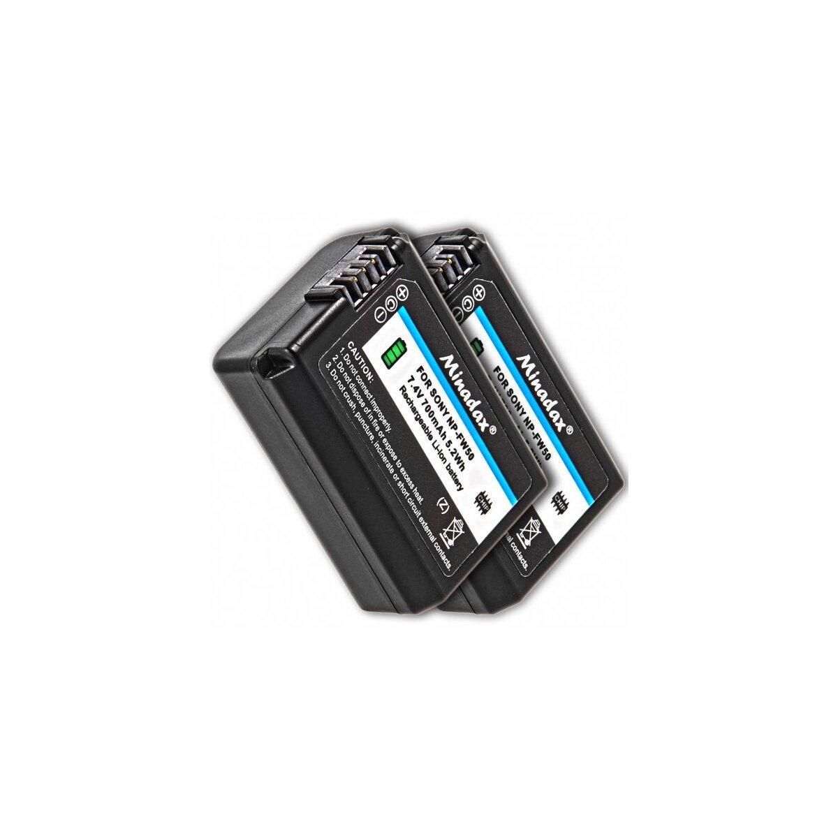 2x Qualitätsakku kompatibel für Sony Ersatz für NP-FW50 - Li-Ion Akku fuer Sony A55, A33, A35, A37, NEX-6, NEX-7 Serie, NEX-3 Serie, NEX-5 Serie