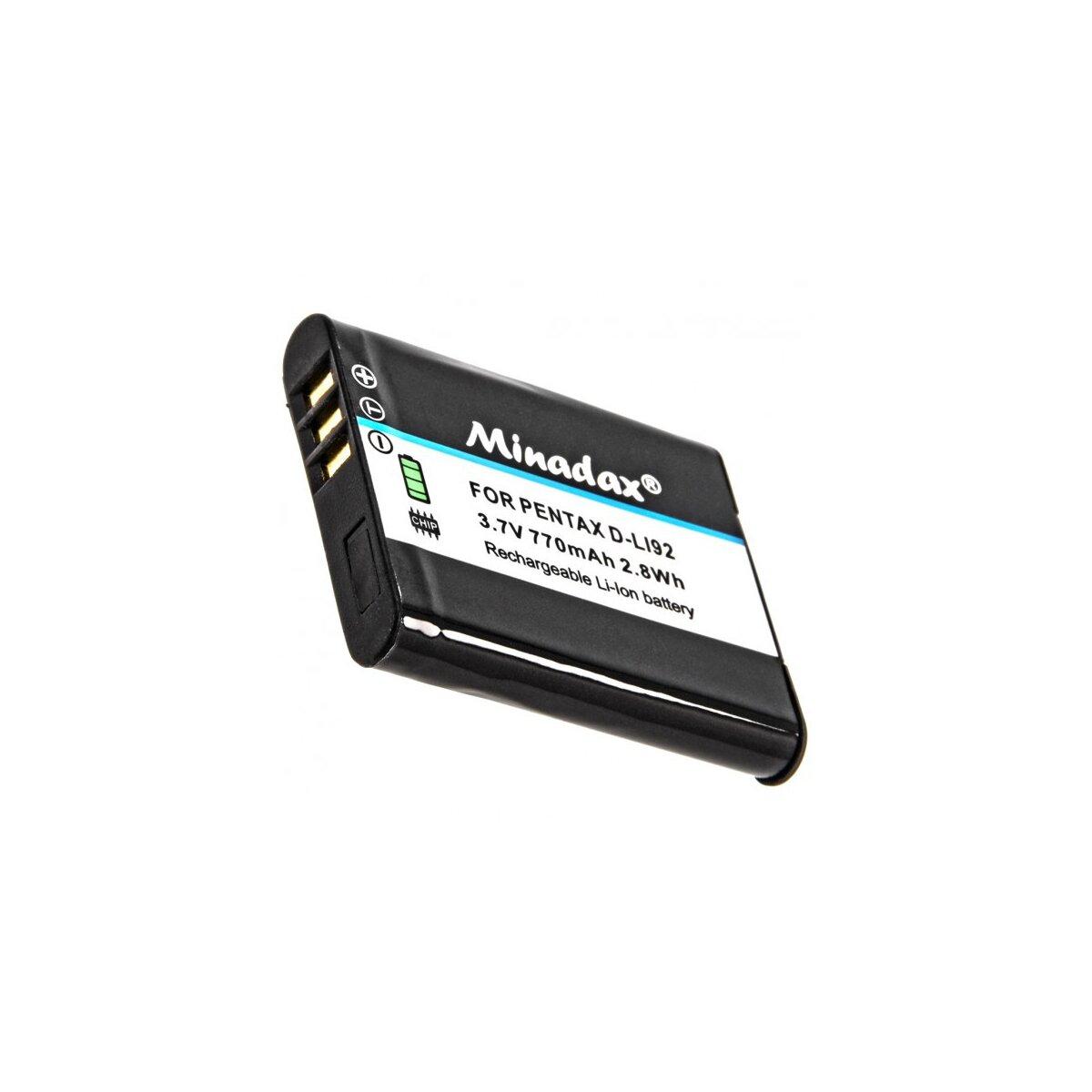Minadax® Qualitaetsakku mit echten 770 mAh fuer Pentax Optio I-10, RX18, RZ10, RZ18, WG-1, WG-2, WG-3, X70, wie D-LI92 - Intelligentes Akkusystem mit Chip