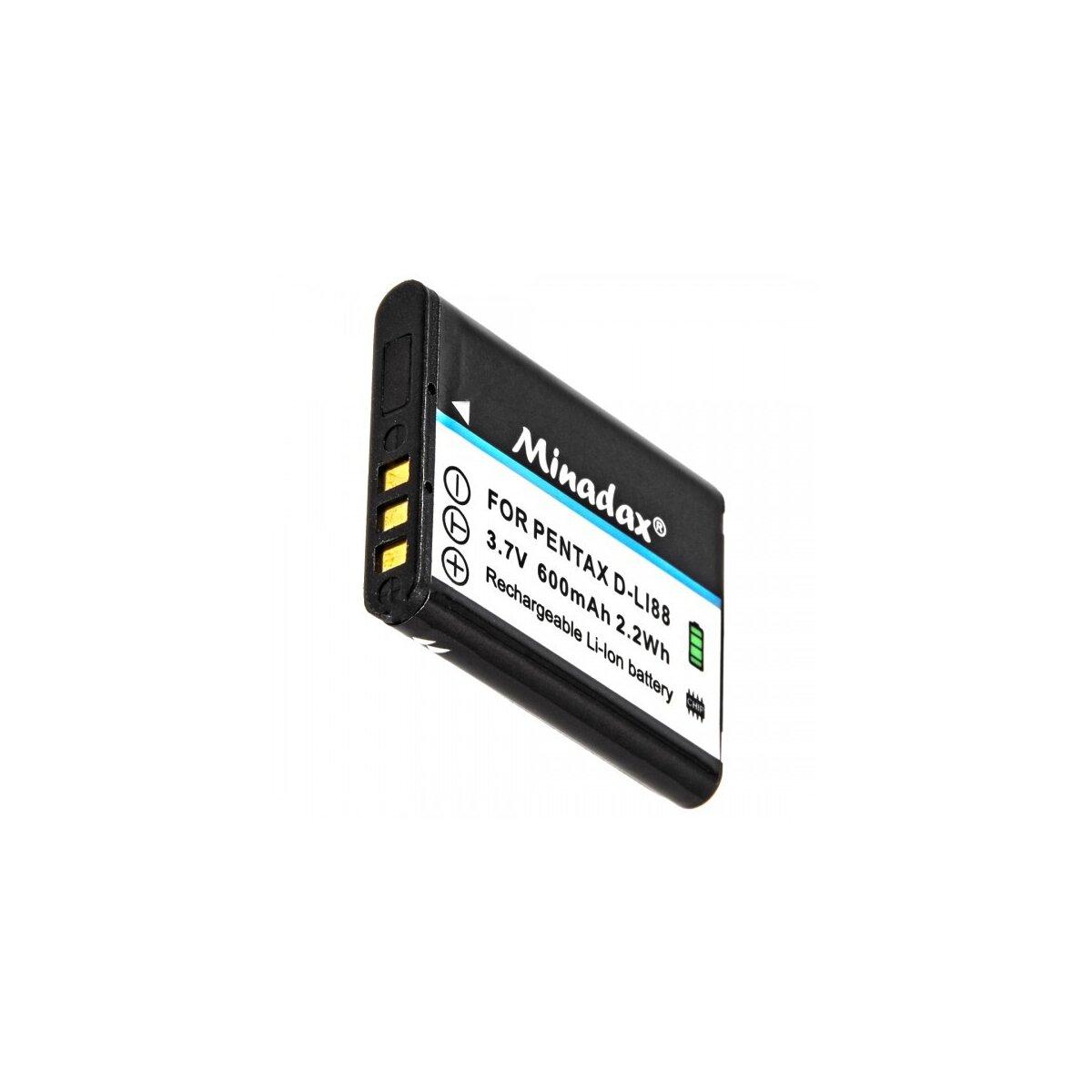 Minadax® Qualitaetsakku mit echten 600 mAh fuer Pentax Optio E71 H90 P70 P80 W90 WS80, wie D-LI88 - Intelligentes Akkusystem mit Chip