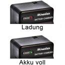 Minadax® Ladegeraet 100% kompatibel fuer Nikon EN-EL3 / EN-EL3E & Olympus BLM1 / BLM5 & Minolta NP-400 & Fuji NP-150 & Samsung SLB-1674 & Pentax D-Li50 inkl. Auto Ladekabel, Ladeschale austauschbar