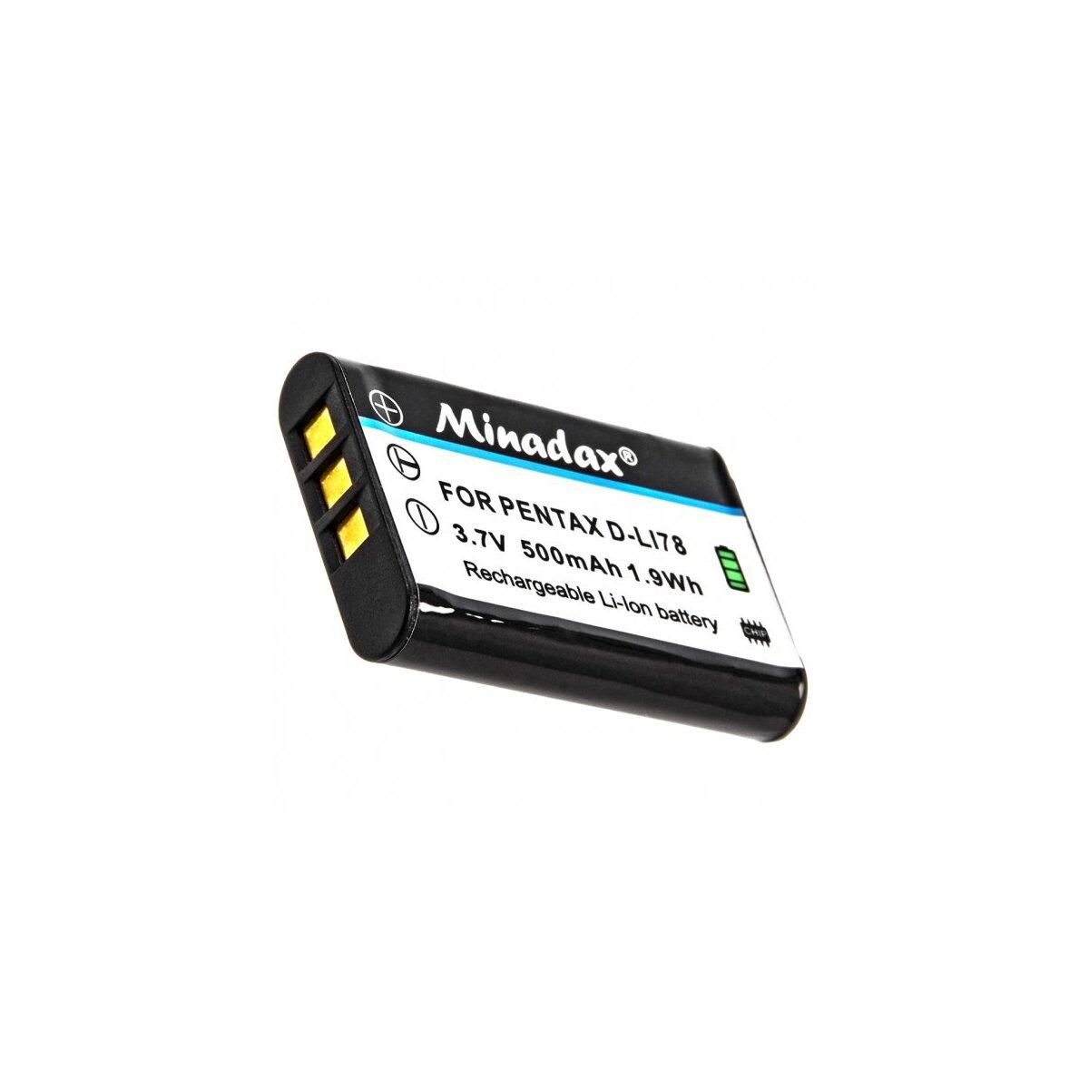 Minadax® Qualitaetsakku mit echten 500 mAh fuer Pentax Optio M50, M60, M 50, 60, W60, W80, W 60, 80, L50, L 50, V20, V 20, wie D-LI78 - Intelligentes Akkusystem mit Chip