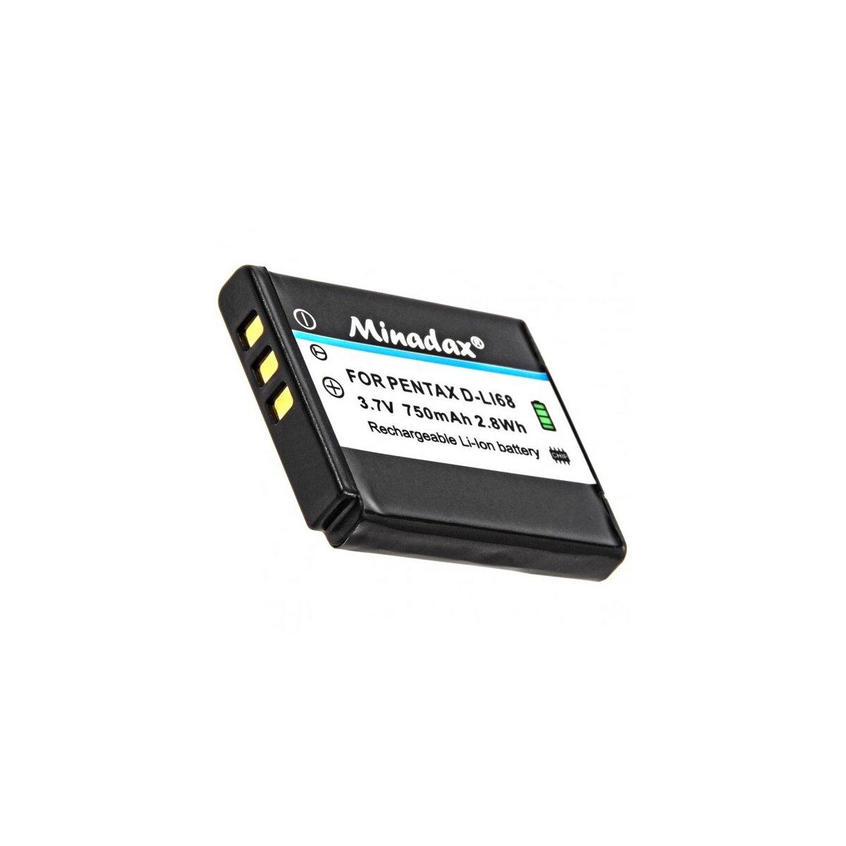 Minadax® Qualitaetsakku mit echten 750 mAh fuer Pentax Q, Q7, Q10, Q-S1  Optio S10, S12, wie D-LI68 - Intelligentes Akkusystem mit Chip