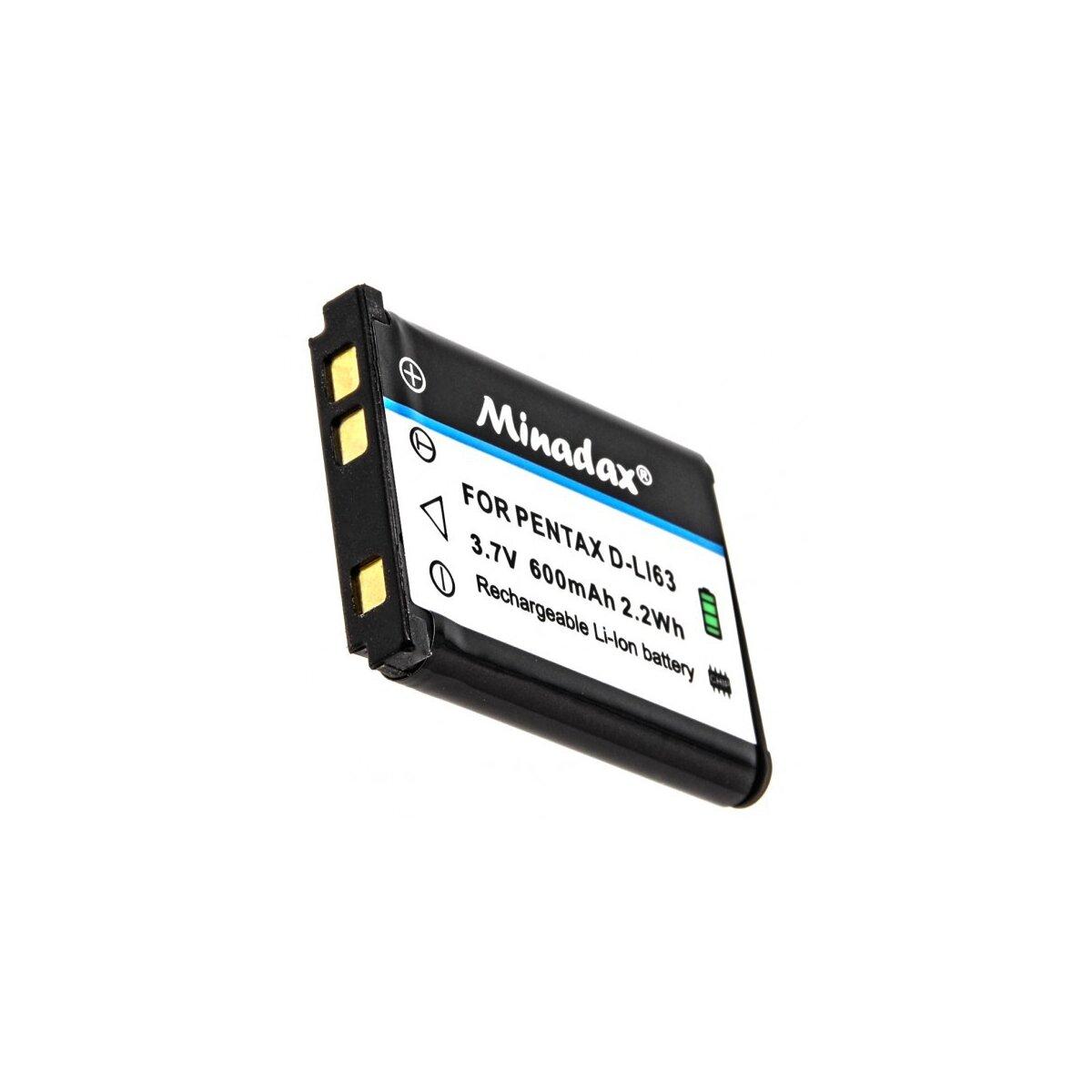 Minadax® Qualitaetsakku mit echten 600 mAh fuer Pentax Optio L30, L40, M30, M40, T30, V10, W30, wie D-LI63 - Intelligentes Akkusystem mit Chip