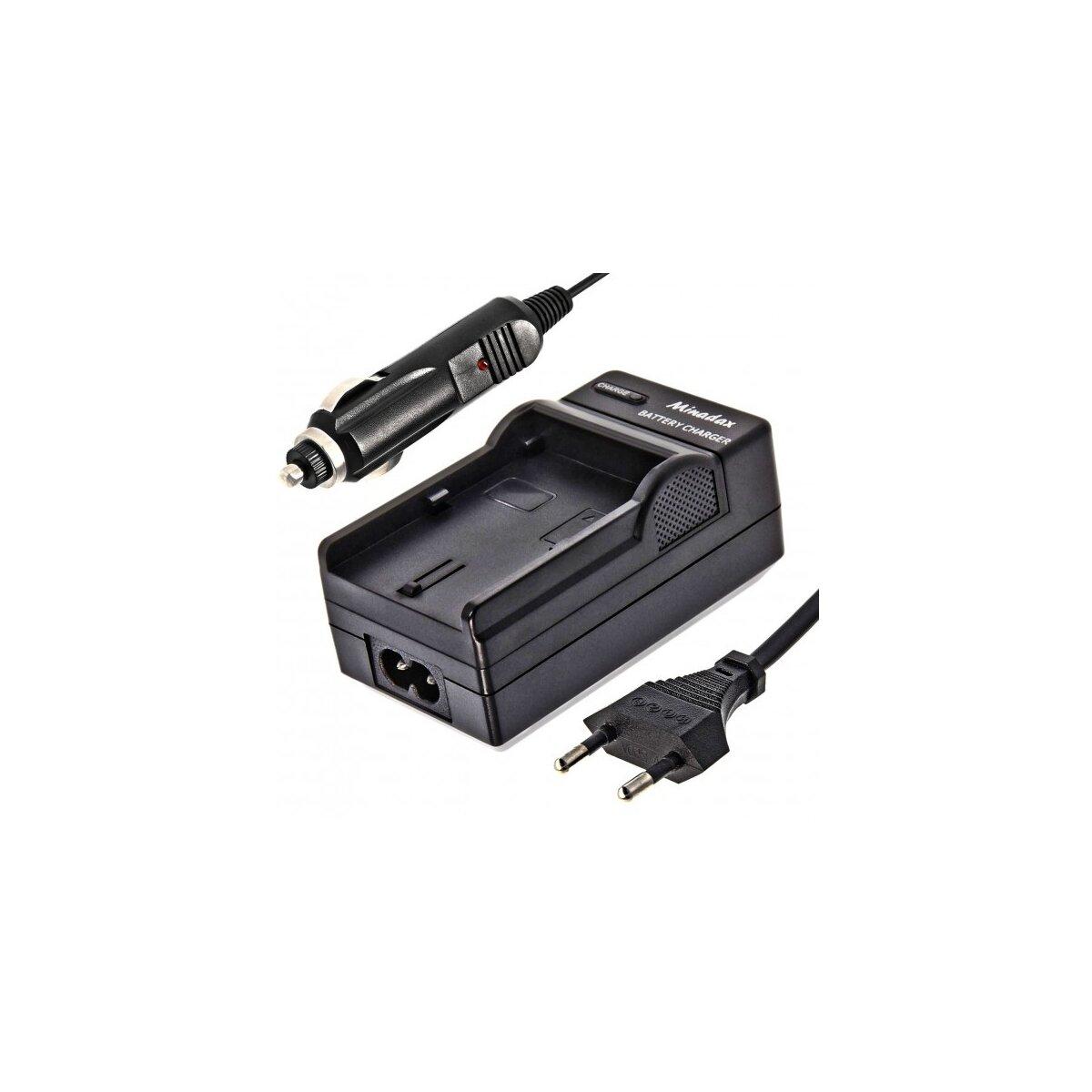 Minadax® Ladegeraet 100% kompatibel fuer Sony NP-BD1, NP-BG1, NP-FD1, NP-FE1, NP-FT1 inkl. Auto Ladekabel, Ladeschale austauschbar