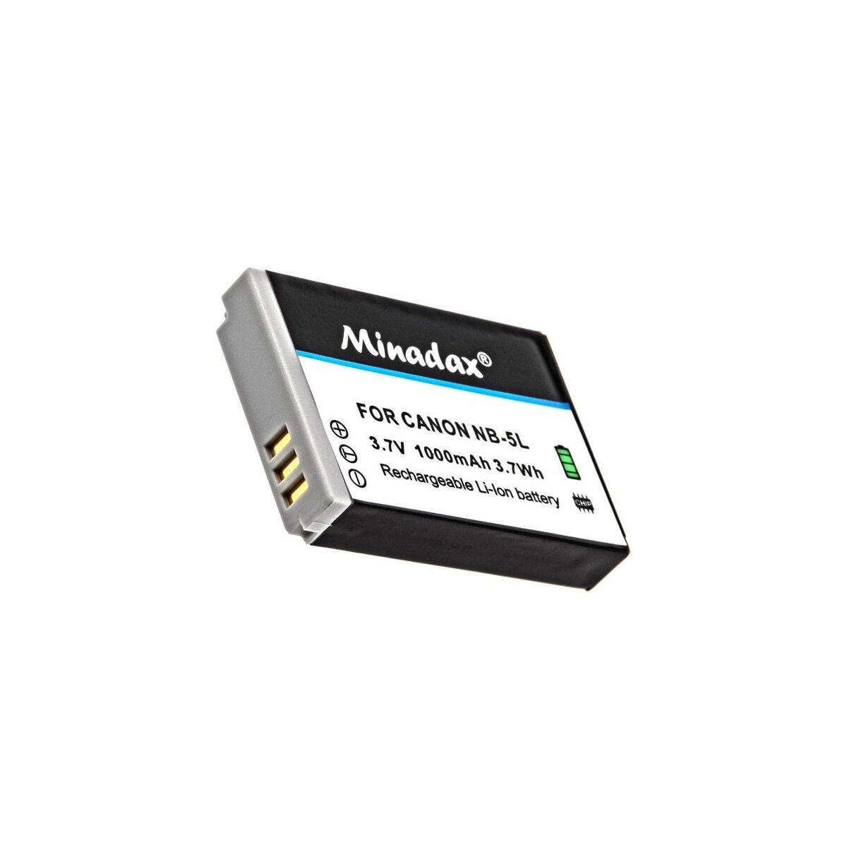 Minadax® Qualitaetsakku mit echten 1000 mAh fuer Canon Ixus 800 IS / 850 IS / 900 Ti / 950 IS, wie NB-5L - Intelligentes Akkusystem mit Chip