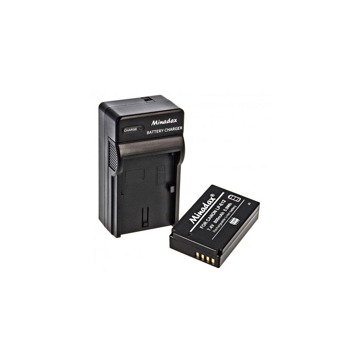 Minadax® Ladegerät 100% kompatibel mit Canon LP-E12 inkl. Auto Ladekabel, Ladeschale austauschbar + 1x Akku Ersatz für LP-E12