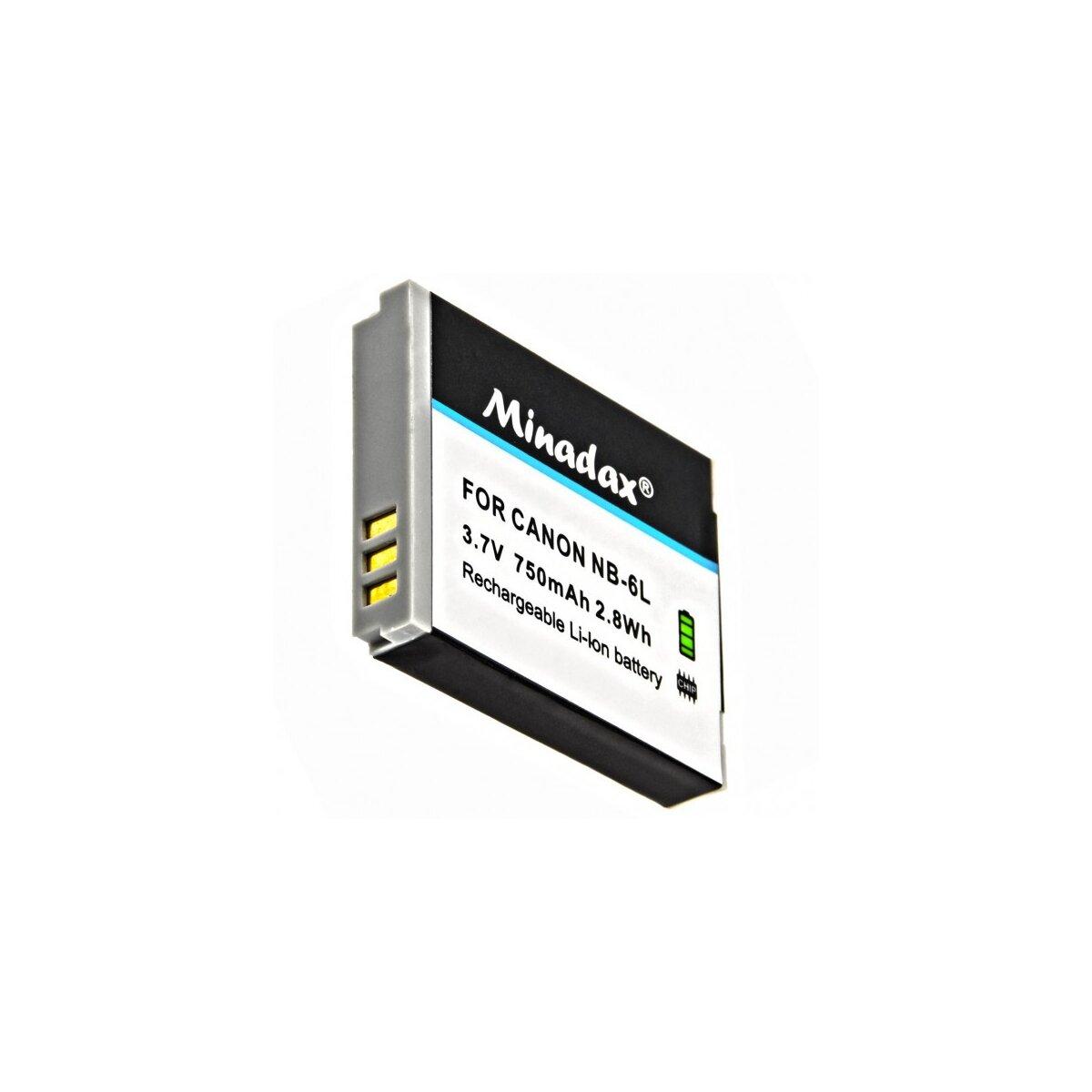 Minadax® Qualitaetsakku mit echten 750 mAh fuer Canon Ixus 200 / 210 / 300 und Powershot-Serie SX240 / SX260 / S95, wie NB-6L - Intelligentes Akkusystem mit Chip