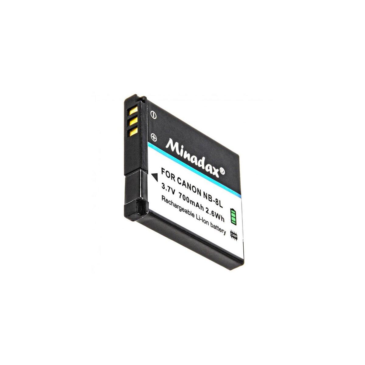 Minadax® Qualitätsakku mit echten 700 mAh kompatibel mit Canon PowerShot A3000 IS und A3100 IS, Ersatz für NB-8L - Intelligentes Akkusystem mit Chip