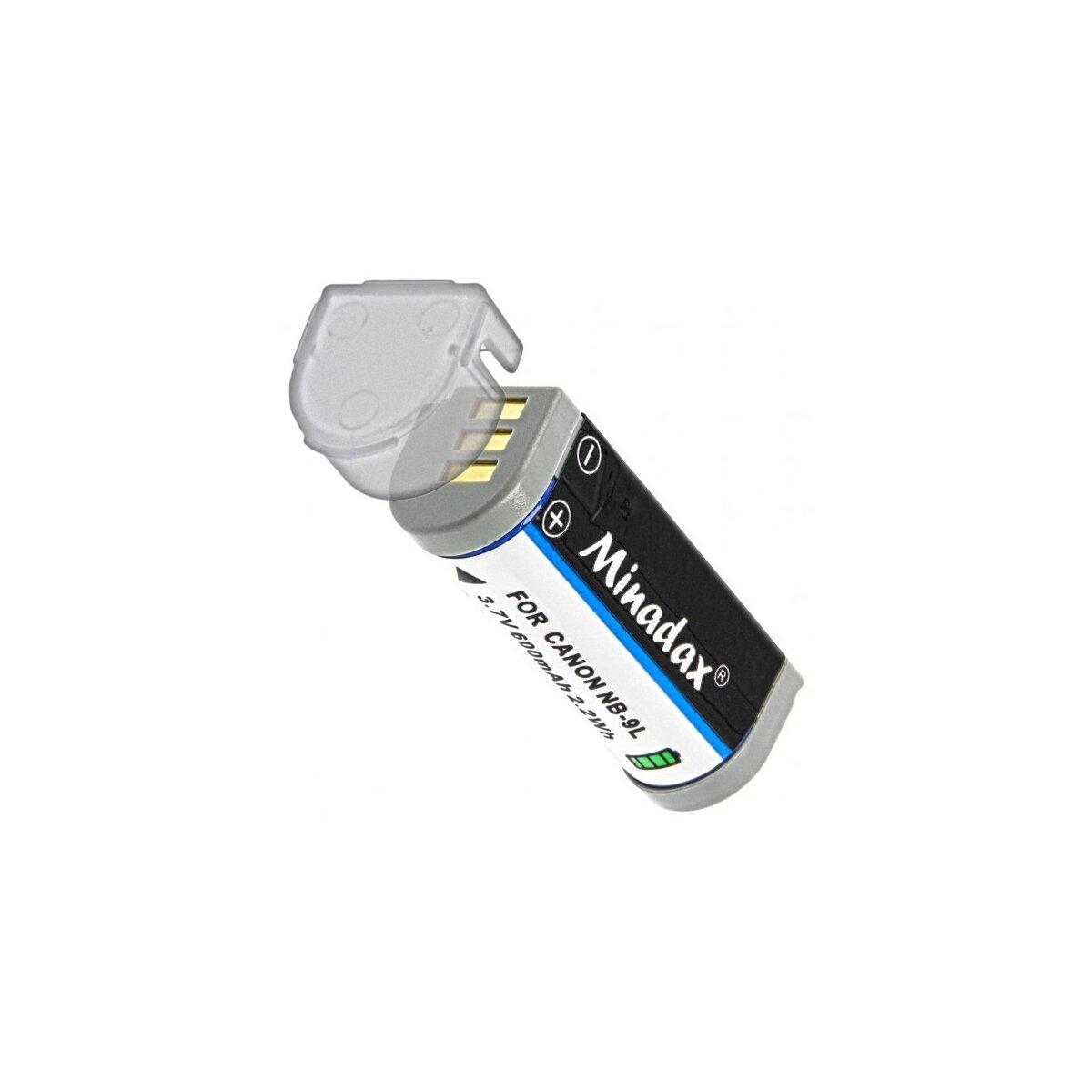 Minadax® Qualitätsakku mit echten 600 mAh kompatibel mit Canon IXUS 500 HS, 510 HS, 1000 HS, 1100 HS, Ersatz für NB-9L - Intelligentes Akkusystem mit Chip